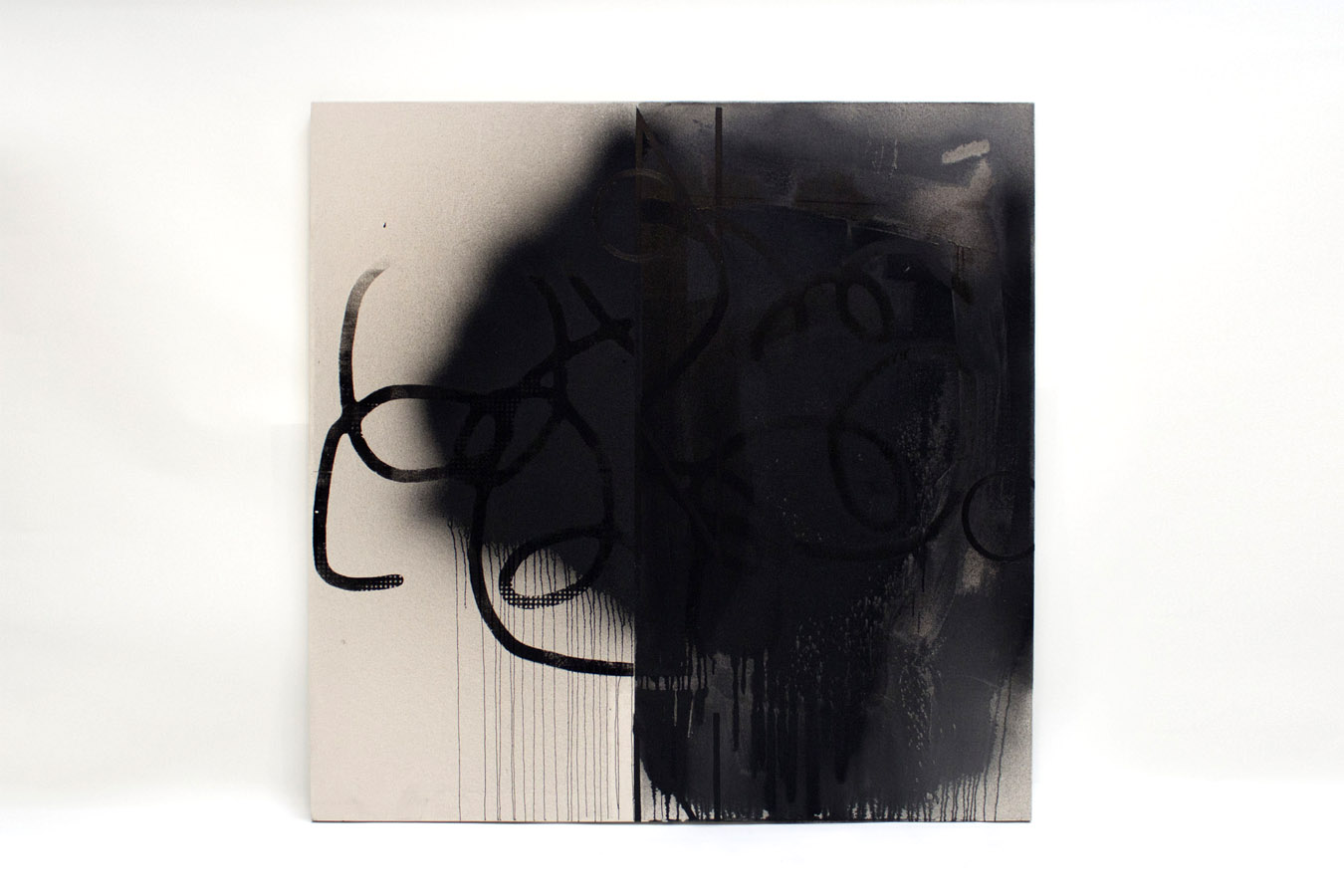 Black Image, acrylic and silkscreen ink on canvas, 60 x 60 inches, 2012